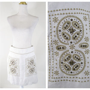 Anthro Floreat Beige Embellished Embroidered Skirt